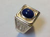 #94 SF 3 Panel Gold Ring With Blue Gem
