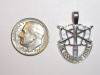 #15 Medium White Gold SF Crest Pendant
