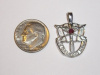Medium White Gold SF Crest Pendant w/Ruby