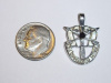 Medium White Gold SF Crest Pendant w/Black Diamond