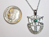 #18 Medium Wht Gold SF Crest Pendant With Emerald