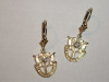 Small SF Crest Yellow Gold Dangle Earrings