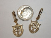 #48 Small SF Crest Yellow Gold Dangle Earrings
